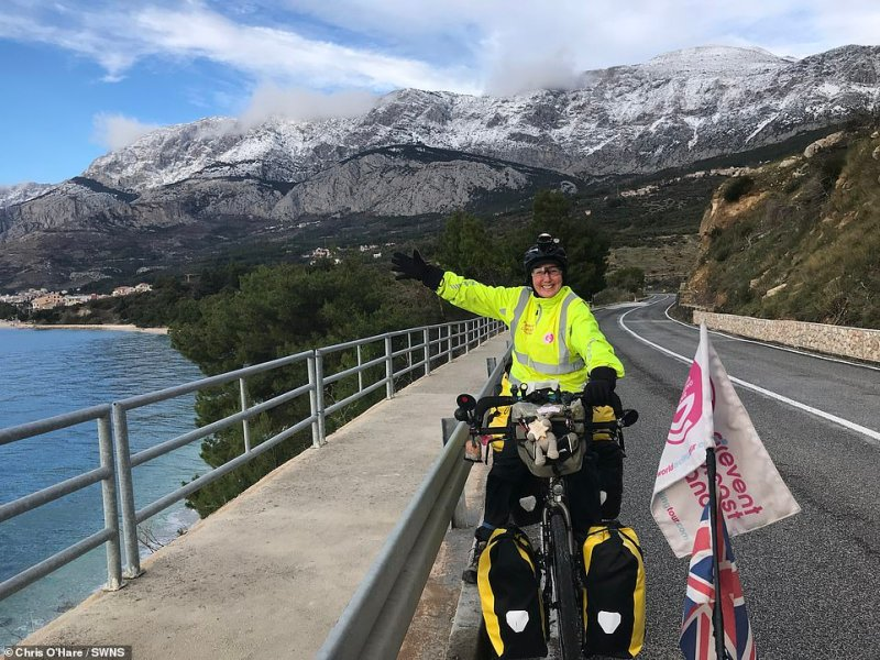 Gabriella is pictured in Croatia. She was diagnosed with breast cancer in 2017, just weeks before she and Chris were due to embark on a world cycle tour that had been years in the planning