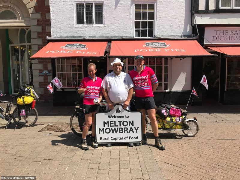 """Gabriella and Chris pictured in Melton Mowbray, UK, at the start of their trip. Talking about the trip to date Gabriella said:""""It's definitely tough but we're having the most incredible time"""""""