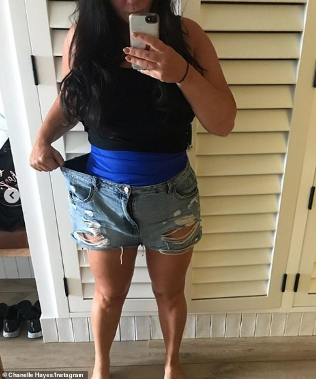 Weight loss: Chanelle took to her Instagram in 2019 to show off her slimmed-down frame in a pair of old shorts, which are now too big for her