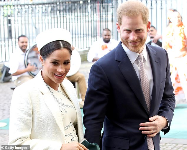 Duke and Duchess of Sussex (pictured at the Commonwealth Service in March 2019) stepped down as senior royals last month. The couple have begun their new life in Vancouver Island, Canada
