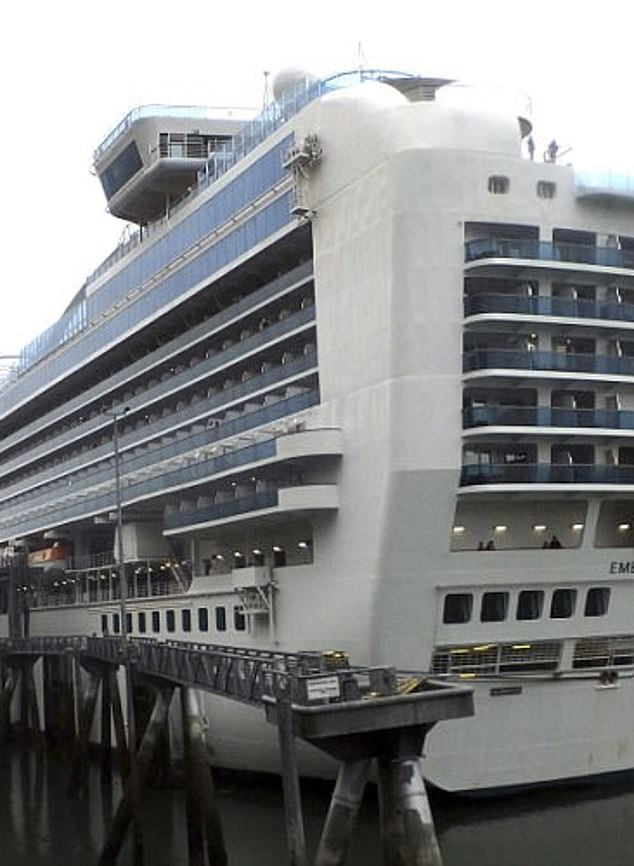 Pictured, the Empress Princess cruise ship, which Kenneth and Kristy Manzanera were sailing on with their three children when the woman was murdered on July 25, 2017