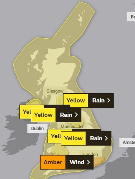 Saturday morning saw a yellow warning of rain covering the entire country for Sunday while an amber wind warning was in place for some of the coast