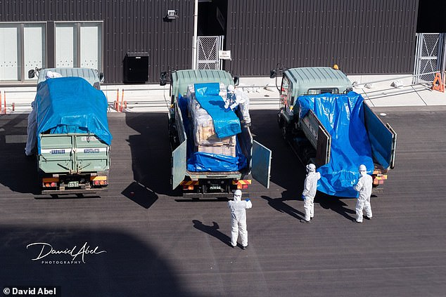 People in hazmat suits load supplies from one of three trucks which have driven to the port in Yokohama to help deliver essential goods to the ship