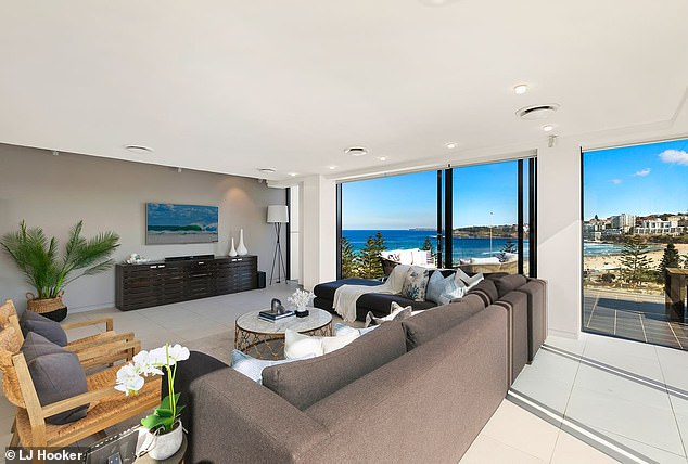 Luxury: Michael bought the Bondi apartment for $6million in 2009 from his friend, celebrity accountant Anthony Bell.It was briefly put on the market in August 2019 for around $8million, before Michael moved in a month later following his secret split from Kyly