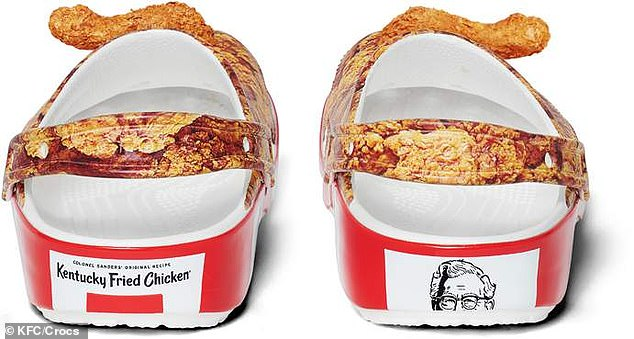 Finger linkin' fashion! The soles have red and white stripes meant to evoke the food chain's iconic bucket — while the top is all chicken