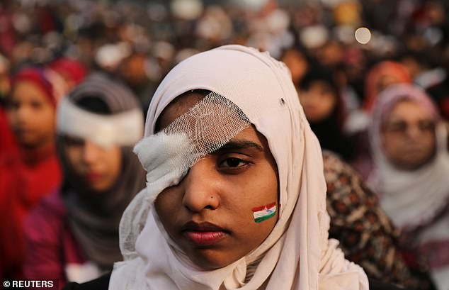 Student protesters were injured at Jamia Millia University protests--one person lost an eye, prompting others to wrap their bandage their heads in solidarity. But false posts from real events create an atmosphere of confusion and uncertainty around real events