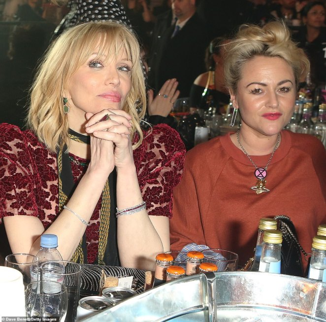 Pals: Courtney, who skipped the red carpet, caught up with Jamie at the awards where the pair sat alongside each other