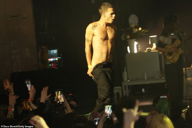 Show: Rapper Slowthai put on a raunchy display as he stripped off while performing on stage