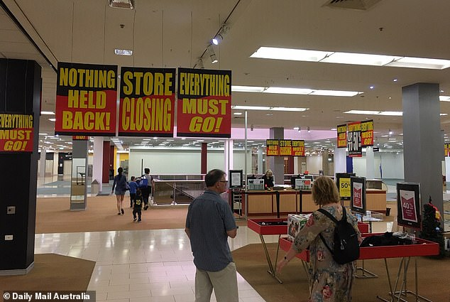 Australian Bureau of Statistics figures released last week showing retail trade grew by just 0.3 per cent in 2019 - the slowest annual growth rate on record. Pictured: the Myer store at Hornsby in Sydney's north shortly before it closed in January after 40 years