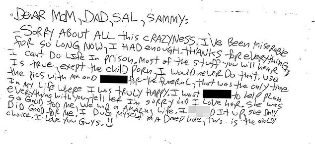 In one of two suicide notes made public by Monmouth Prosecutor's Office on Monday, Ozbilgen addresses 'Mom, Dad, Sal, Sammy'
