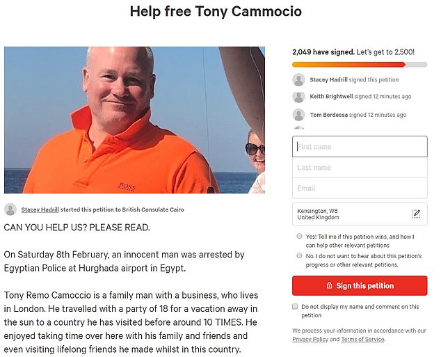 More than 2,000 people have signed an online petition demanding the release of Mr Camoccio, who is a regular visitor to Hurghada, 250 miles south east of Egypt's capital, Cairo