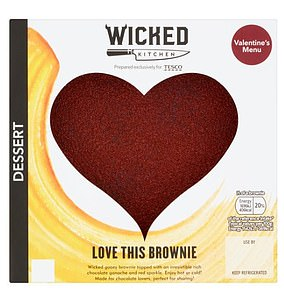 Tesco's dessert, a Wicked Kitchen Chocolate Brownie Heart is an additional 406 calories.
