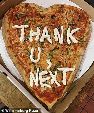 Get a pizza this: Williamsburg Pizza offered up suggestions for phrases on Instagram, revealing one woman actually used the pie to dump her boyfriend with an Ariana Grande lyric (pictured)
