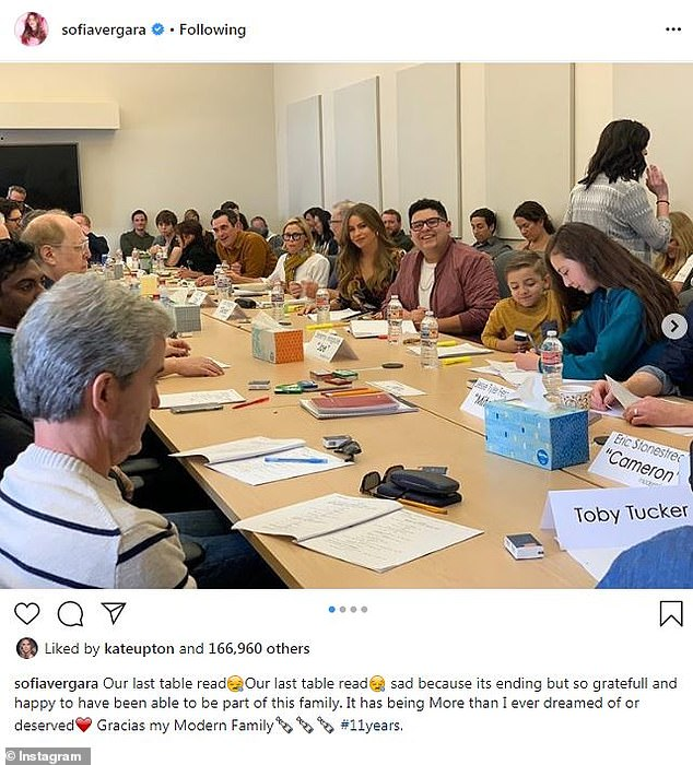 The end: After 11 years, the cast couldn't believe they were reading for the 250th episode as Sofia Vergara shared a snap of 'our last table read'
