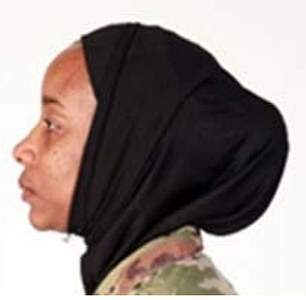 An example of properly worn hijab with the Air Force uniform is seen in an example published with the service branch's new guidelines
