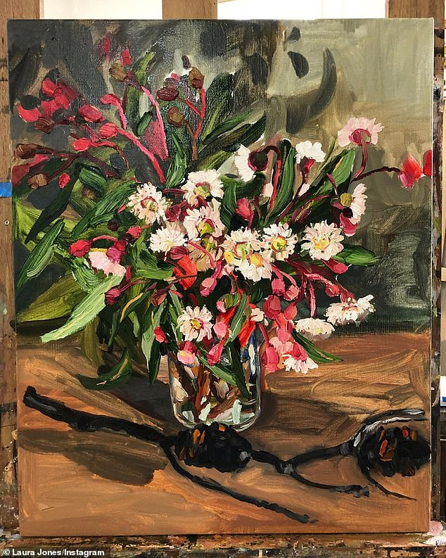 The painting of flowers, estimated to be worth $10,000-$12,000, was inspired by charred natives at family member's Blue Mountains property which was badly hit by this season's bushfires