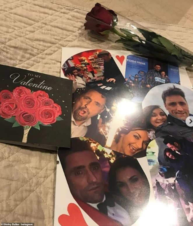 Adorable:Sending her best, Shirley, 59, gave a nod to her toyboy beau Daniel Taylor, 47, as she shared a card, in which he had created a collage of sweet images of the pair alongside a rose and card
