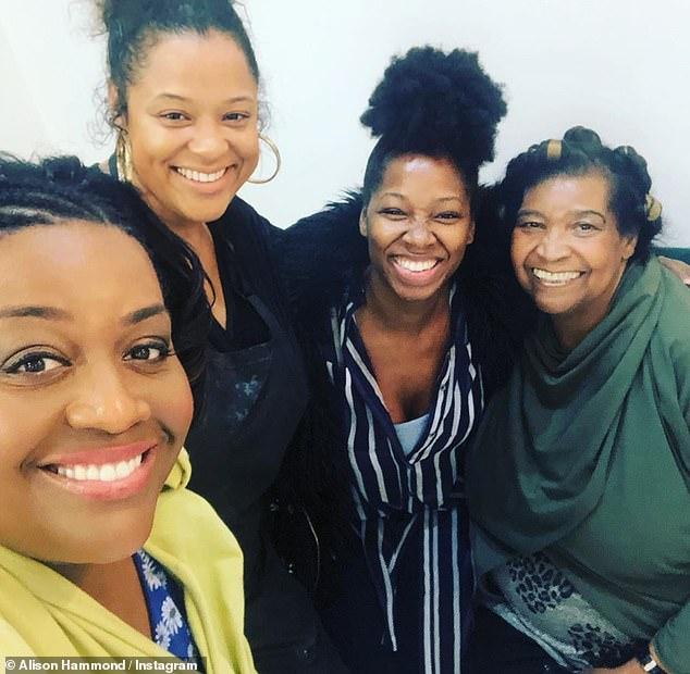Treasured days: Back in October, Alison (left) shared a rare picture of her mother (far right) on social media as they hung out with singer Jamelia (second from right)
