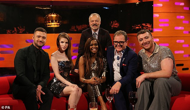Star-studded guests: Justin Timberlake, Oscar-nominee Anna Kendrick, Alan Carr and singer-songwriter Sam Smith also appear in Friday's episode