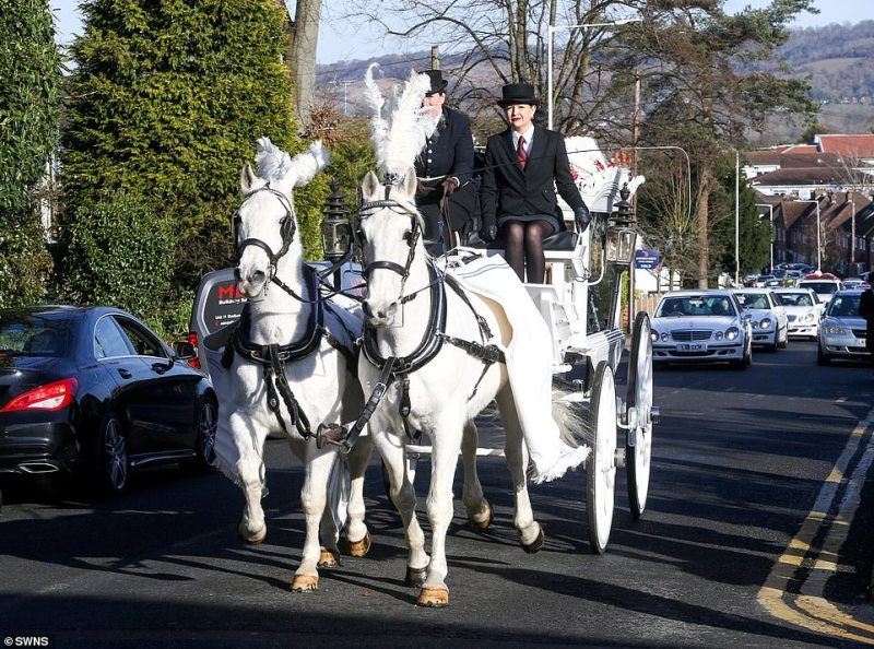 The Smiths' coffins are pictured this morning being carried in elaborate white carriages pulled by white horses