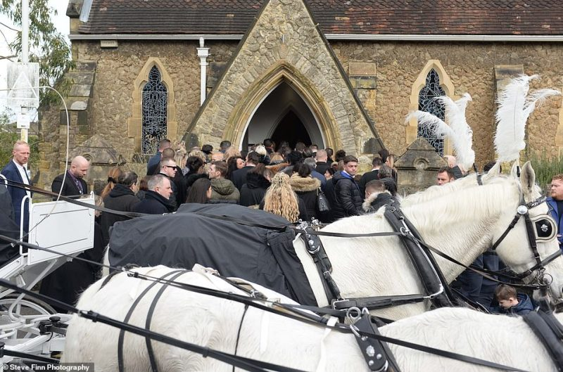The grounds of St John the Baptist Church in Sevenoaks, Kent is pictured crowded with friends, family and other members of the travelling community before the funerals began