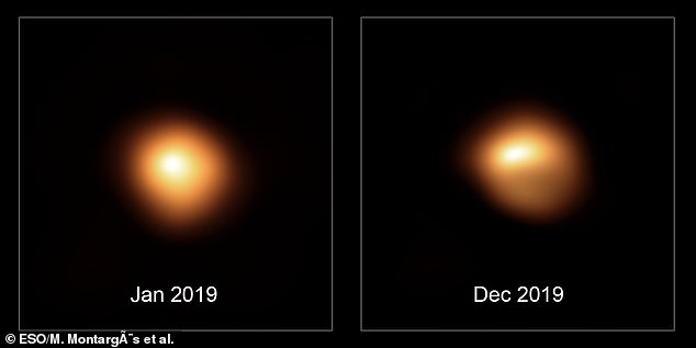 The new images of the surface of Betelguese show not only it fading but also that its shape appears to be changing compared to similar images taken 11 months earlier. The image on the left was from January 2019 and on the right from December 2019