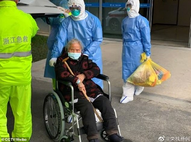 Ms Lu (pictured), a 96-year-old woman from China's Zhejiang Province, has recovered from the novel coronavirus after being treated in the ICU for three days at a hospital in Hangzhou