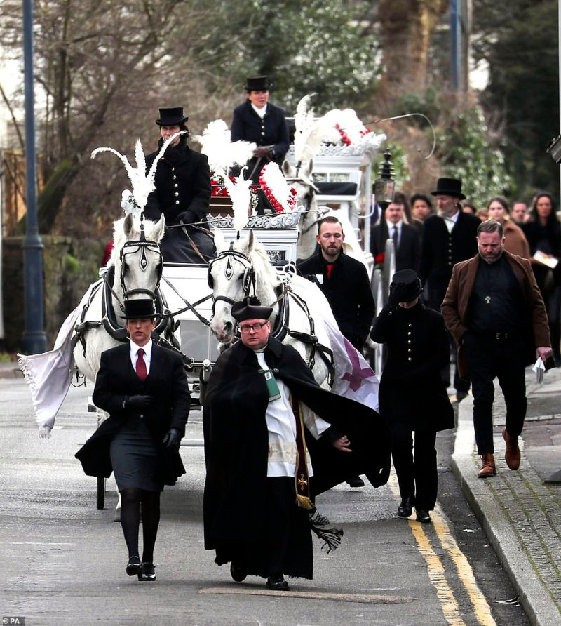 The horse-drawn carriages carrying Joe and Billy Smith leave St John the Baptist Church, Sevenoaks, after their funeral