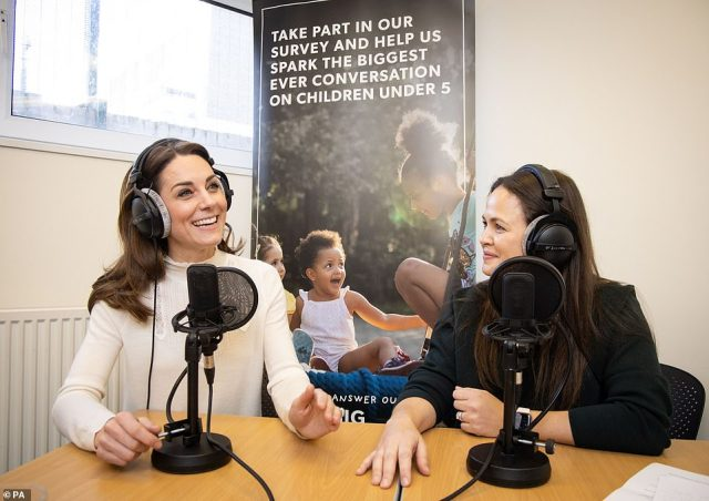 Kate Middleton, 38, will feature on Giovanna Fletcher's Happy Mum, Happy Baby podcast on Saturday, where she discusses the Early Years and her landmark survey '5 Big Questions on the Under Fives. Pictured together
