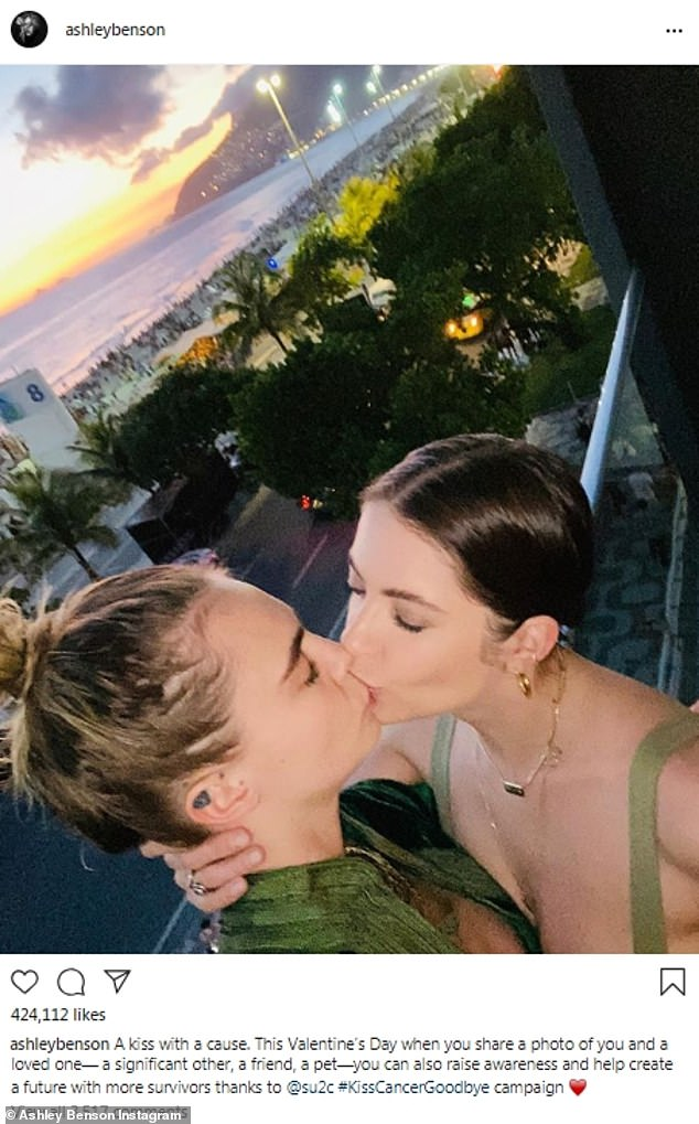 Smooch:Ashley Benson shared an image where she was kissing her girlfriend, model Cara Delevingne