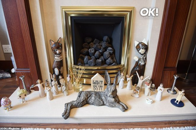Cute: Her quaint fireplace was also covered with pretty ornaments, including even more cute cats
