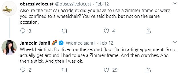 Jamil claims to have had two car accidents, one of which left her in a wheelchair