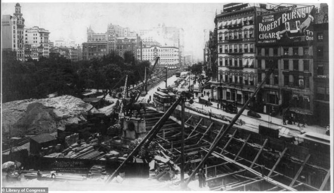 A still of Union Square, taken in 1901 reveals how disruptive the 'cut and cover' construction method was to everyday life