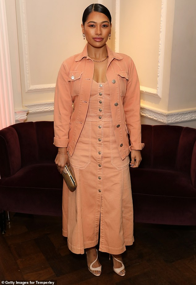 Peachy dream:Vanessa White, 30, looked gorgeous in a peachy ensemble. The former Saturday's member wore the cord dress paired with a matching jacket