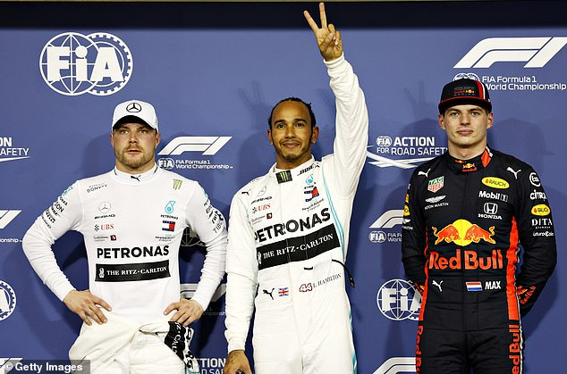Lewis Hamilton (center) plunged into a war of words with his rival Max Verstappen (right)