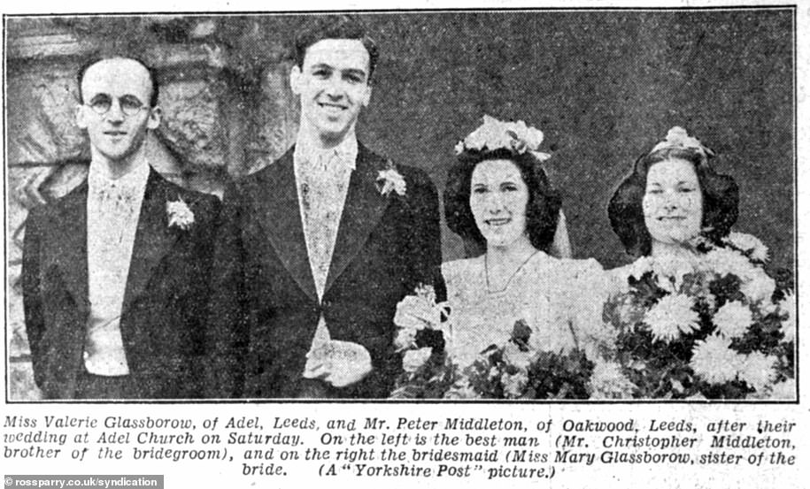 Valerie Glassborow and her twin sister Mary worked in Hut 16 at Bletchley Park. She later married Peter Francis Middleton (pictured on their wedding day) and had four sons, Michael, Richard, Simon and Nicholas. Michael is the father of the Duchess of Cambridge