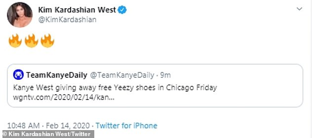 Fire! The 39-year-old SKIMS CEO retweeted several posts about the 42-year-old rapper-designer's giveaway, and then shared Complex's footage from the actual event