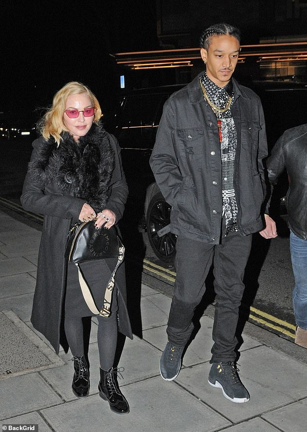 Together: Madonna took a break from her Madame X world tour to enjoy a romantic Valentine's Day meal with boyfriend Ahlamalik Williams
