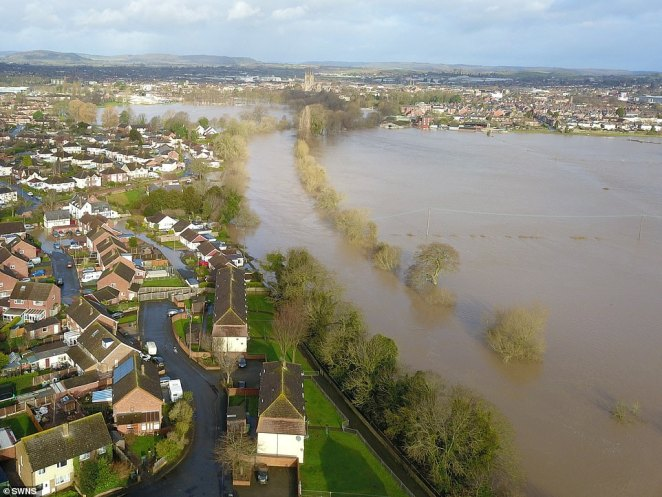 Aerial images show Hereford overwhelmed with floods after the River Wye reached its highest level in history