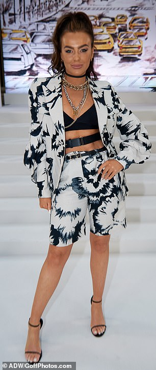 Star studded: Love Island star Rosie Williams, 28, turned heads in a striking short suit with a black and white motif print
