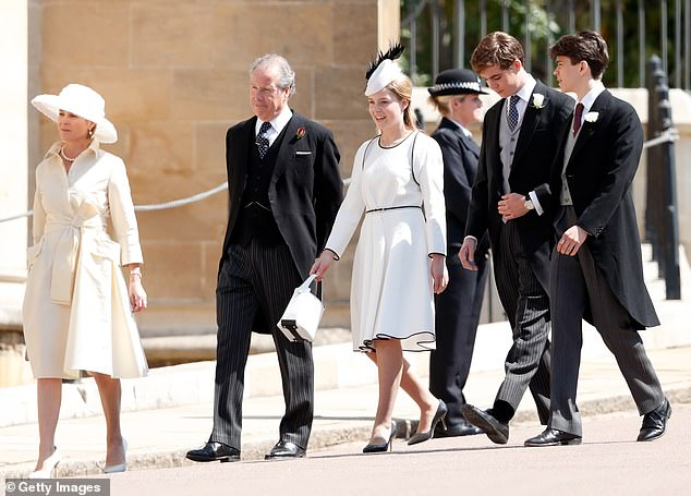Serena, Countess of Snowdon, David Armstrong-Jones, Earl of Snowdon, Margarita Armstrong-Jones, and Charles Armstrong-Jones, Viscount Linley attend the wedding of Prince Harry to Ms Meghan Markle at St George's Chapel, Windsor Castle on May 19, 2018 in Windsor