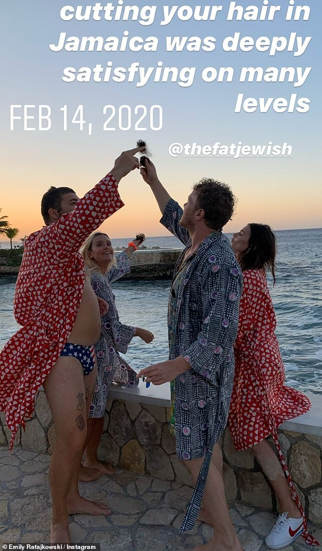Holiday: Emily and her husband Sebastian Bear-McClard just spent Valentine's Day in Jamaica with Josh Ostrovsky and his influencer second wife Caitlin King