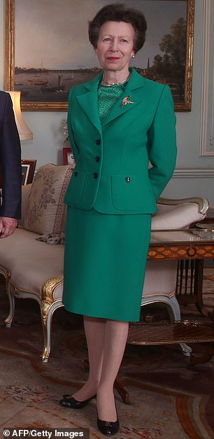 Anne in the outfit at Buckingham Palace last year