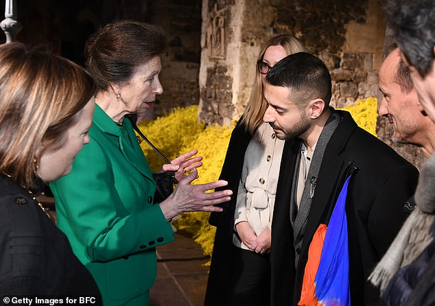Princess Anne spent time speaking to designers at the London Fashion Week showcase