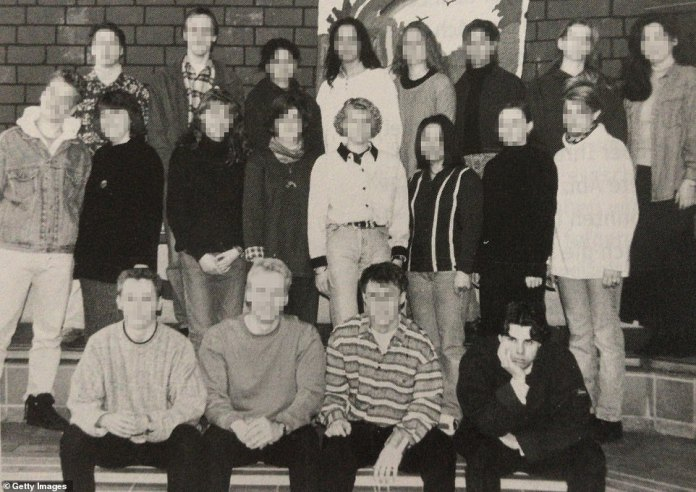 Rathjen, pictured bottom right in a yearbook photo from 1996, uploaded a manifesto online before carrying out his attacks detailing his belief in ethnic cleansing, mind control and that the government was following him