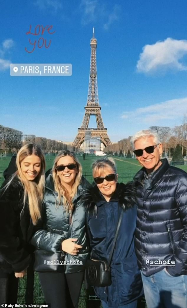Sweet display: The This Morning presenter, 57, aired his concerns that due to vague travel guidelines regarding the virus he is unsure whether he should be in quarantine following his trip to the French capital with his family (pictured)