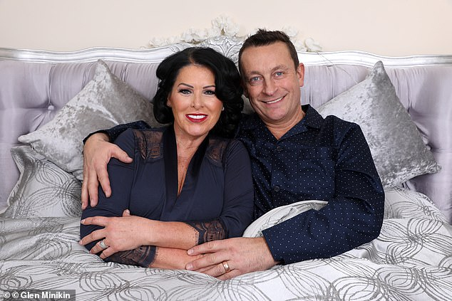 Hayley Garbutt, 51, has sex every day - three times a day when they both have a day off work together - with her (second) husband of 10 years Maurice (pictured together)
