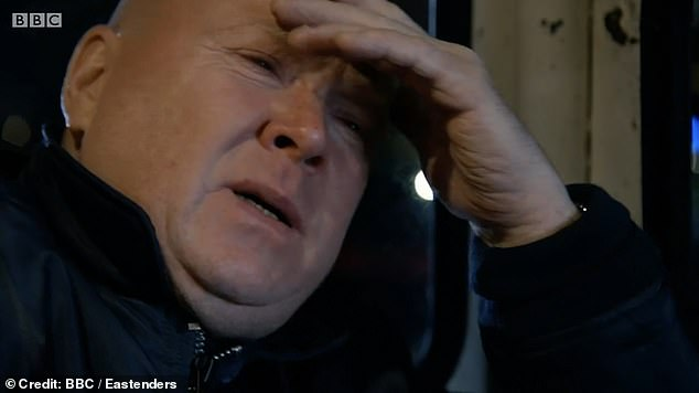 Drama: Phil Mitchell was seen breaking down over Sharon's son Dennis dying