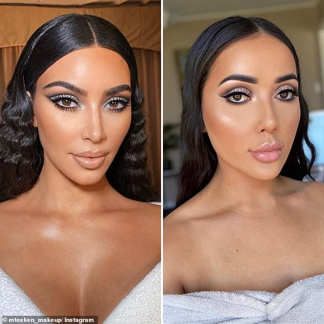 The makeup enthusiast, 24, turns into Kim Kardashian with beauty products