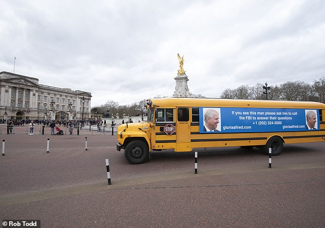 Lawyers for the victims of Epstein sent an American-style school bus to Buckingham Palace as part of their campaign to get Andrew to speak to the FBI